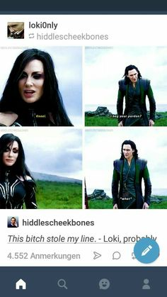 Loki and Hela look a like and act more like siblings than her and Thor Marvel Jokes, Avengers Memes, Marvel Funny, Marvel Dc Comics, Marvel Heroes, Marvel Avengers, Tom Hiddleston, Loki Thor, Loki Laufeyson