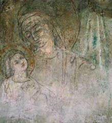 La fresque de la Madone de saint Ambroise et du Miracle - Le doux regard de Marie  L'histoire de Santa Maria presso San Celso, le plus populaire sanctuaire de Milan. L'emplacement du sanctuaire était déjà à la fin du IVe siècle un lieu de pèlerinage parce que l'on y avait retrouvé les corps des martyrs Nazaire et Celse. Et en 1485, face à des centaines de témoins, l'ancienne image de la Vierge avec l'Enfant qu'avait fait peindre saint Ambroise s'anima miraculeusement, par Giuseppe Frangi