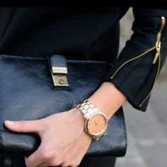 big watch and zipper = love