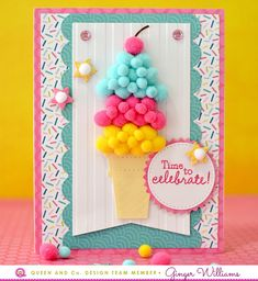 Make the cutest ice cream cone card ever with the Birthday Bash Card Kit!
