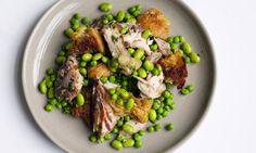 mackerel edamame salad from Nigel Slater Healthy Dishes, Healthy Salad Recipes, Mackerel Salad, Smoked Mackerel, Easy Delicious Dinner Recipes, Winter Salad Recipes, Edamame Salad, Mackerel Recipes, Nigel Slater
