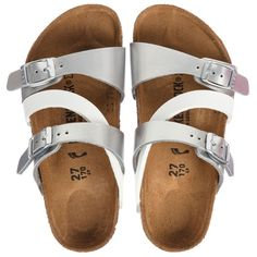7ddf582e177685 Girls metallic silver and white  Milano  slip-on sandals from Birkenstock.  Made