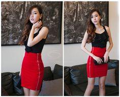 Glamour Side Zipper Embellished Over Hip Skirt For Women (BLACK,L) China Wholesale - Sammydress.com