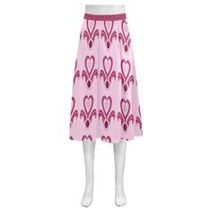 Pink Heart Flower Pot Mnemosyne Women's Crepe Skirt(Model D16)