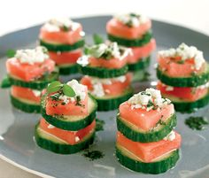 Watermelon feta snacks made with cucumbers. A light and flavorful way to rock you and your tummy to #sleep. Watermelon And Feta, Watermelon Recipes, Cucumber, Vegetarian Recipes, Cooking Recipes, Healthy Recipes, Recipe Finder, Appetisers, Love Food