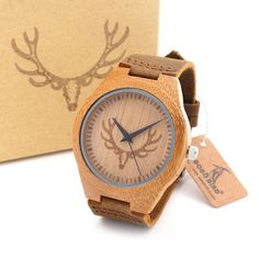 BOBO BIRD Men's Bamboo Wooden Bamboo Watch Quartz Real Leather Strap Men Watches With Gift Box