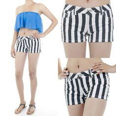 Black & White Striped Shorts  $25.00 Free Domestic Shipping