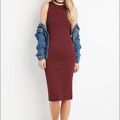 "Plum midi dress NWOT Bodycon midi dress. Stretch knit, unlined. 46"" long.  100% polyester                                                      I am 5'6"", size 12-14. Dresses Midi"