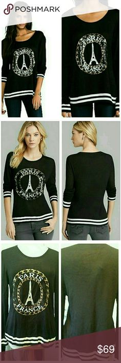 Lauren Moshi Barb Paris France Sequins Sweater Top NWOT. NEW NEVER WORN has 2 small flaws.Pls c last pic, tiny hole & small snag on back of sweater IMHO not noticeable,, a tailor can apply a patch reinforcement 4 a few $ if ur worried it will get bigger.only selling this since I purchased a while ago & never wore, only noticed the hole& snag when looking over closely to list, if you wear oversized imo not noticeable. asking price indicative of flaw.. Reasonable offers are welcome  Meaurments…