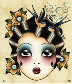 Vintage-style tattoo art by Angelique Houtkamp: Flapper face.