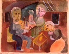 Family, watercolour, Lasar Segall