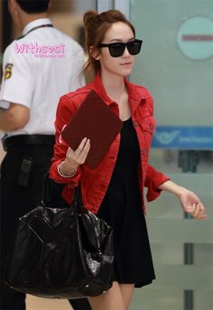 jessica jung: little black dress + denim jacket + sunglasses