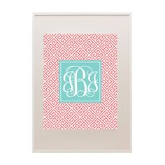 Greek key free printable monogram now available in six color combos!