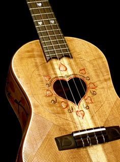"Blueberry ""Love"" ukulele by Daniel Fonfeder. Beautiful details!"