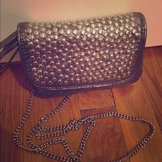 Distressed Silver Studded Crossbody