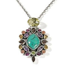 "Nicky Butler Green Turquoise and Multigem Sterling Silver Pendant with 24"" Chain at HSN.com."