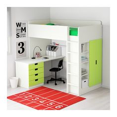 STUVA Loft bed combo w 4 drawers/2 doors - white/green - IKEA