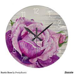 Rustic Rose Large Clock