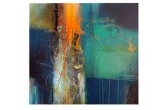 "Stephen Haigh, artist, ""city glistening"", mixed media on canvas, 28x26"