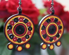 "Quilled Earrings  ""Mayan Circle"" Quilled Jewelry"
