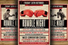 Vintage Boxing Flyer Template - Flyers