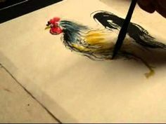 rooster painting chinese brush