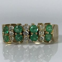 Vintage Emerald Diamond Cluster Ring. 14K Yellow Gold. Unique Engagement Ring. Estate Jewelry. May Birthstone. 20th Anniversary. Appraised. #diamondclusterring