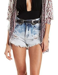 Machine Jeans Acid Wash Cut-Off Shorts: Charlotte Russe