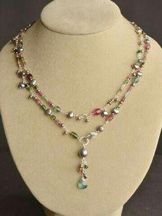 Wildflower Tourmaline Lariat Necklace by Harmony Scott Jewelry Design I Love Jewelry, Wire Jewelry, Jewelry Crafts, Jewelry Box, Jewelry Necklaces, Jewelry Making, Scott Jewelry, Pandora Jewelry, Jewlery
