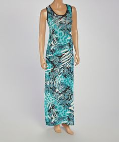 Look at this All Fashion USA Blue Ikat Racerback Maxi Dress on #zulily today!