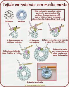 Tejido en redondo con punto vareta - How to crochet rounds - вязание крючком круг, как Crochet Cord, Love Crochet, Learn To Crochet, Irish Crochet, Diy Crochet, Crochet Diagram, Crochet Motif, Crochet Stitches, Crochet Patterns