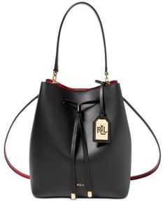 Lauren Ralph Lauren Debby Leather Drawstring Bag Handbags   Accessories -  Macy s cdc67e6b0f71c