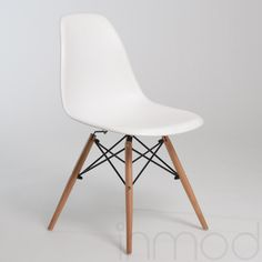 Molded Plastic Eiffel Side Chair with Wood Legs