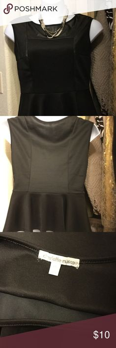 """Cute peplum top Faux leather detail. Pit to Pt 19"""" waist is 17"""". Figure flattering Charlotte Russe Tops"""