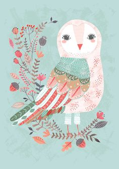 Forest Owl - by Rebecca Jones  Giclee print of an original illustration. Printed on high grade, archival paper, with archival quality inks. (French Cold Press Textured fine-art paper, 100% cotton rag, 320 gsm)    A4 SIZE - This print measures approx. 210 x 300 mm. With 5mm space around all edges to allow for mounting and framing.    The print will be backed with thick card and placed in a plastic sleeve ensuring that the print will arrive safely.    Please let me know if you have any…