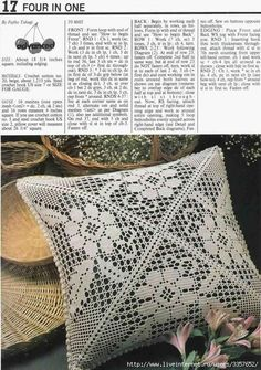 Beautiful Cushion Cover in Filet Crochet and a bonus with the pattern here in English! Crochet Pillow Pattern, Crochet Cushions, Crochet Stitches Patterns, Crochet Designs, Crochet Toddler, Crochet Home, Crochet Symbols, Crochet Dollies, Fillet Crochet