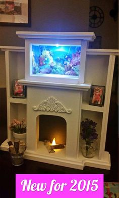 American Girl Doll Sized Entertainment Center Flickering Fireplace , Lighted Tv…