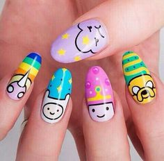 40 favorite nail art designs for Christmas # nails acrylic nails Related posts: The cutest and festive Christmas nail designs to … Trendy Nail Art, Cute Nail Art, Cute Nails, My Nails, Adventure Time Nails, Anime Nails, Kawaii Nail Art, Crazy Nails, Crazy Nail Art