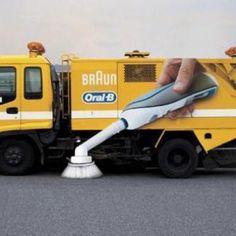 Braun überrascht mit Guerilla Marketing! Ambient Marketing: Durch das geschickte Platzieren von Werbefolie auf Straßenkehrmaschinen sieht es so aus, als würde die Straße von