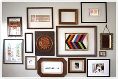 DIY Gallery Wall with colorful thrifted picture frames