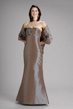 2015 Strapless Shawl Sleeveless Satin Floor Length Mother of the Bride Dresses…
