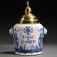 Dutch Delft Blue and White Tobacco Jar | Sale Number 2663B, Lot Number 767 | Skinner Auctioneers