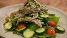 Coriander Thai Pesto with Leftover Beef & Salad