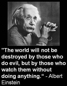 "Albert Einstein - ""The world will not be destroyed by those who do evil, but by those who watch them without doing anything."""