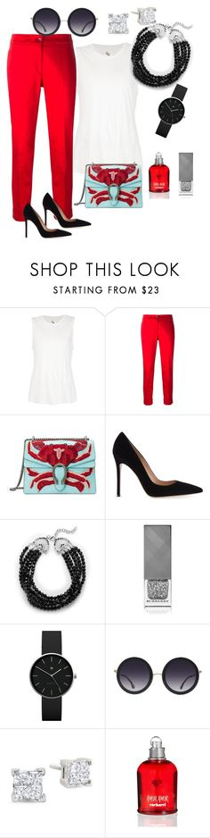 """Untitled #58"" by tammy-stacey ❤ liked on Polyvore featuring 321, Etro, Gucci, Gianvito Rossi, Catherine Malandrino, Burberry, Newgate, Alice + Olivia and Cacharel"