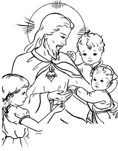 Jesus and the children / Sacred Heart Catholic Coloring Page