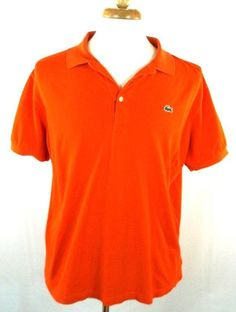 Lacoste Polo Shirt Solid Orange Cotton Blend Short Sleeve Mens Large L EUR 6 #Lacoste #PoloRugby
