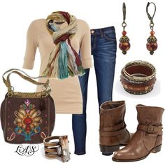 A fashion look from April 2012 featuring scoop t shirt, blue ripped skinny jeans and short heel booties. Browse and shop related looks. Fall Fashion Outfits, Fall Fashion Trends, Fall Winter Outfits, Look Fashion, Autumn Winter Fashion, Womens Fashion, Outfits Otoño, Fall Fashions, Woman Outfits