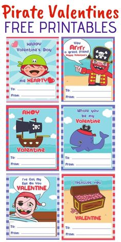 Free pirate valentines printables packed with funny pirate puns! These will make… Free pirate valentines printables packed with funny pirate puns! These will make great last minute Valentine's Day cards for the kids class. Valentines Puns, Printable Valentines Day Cards, Valentines Day Activities, Valentines For Boys, Valentine Day Crafts, Happy Valentines Day, Valentine Cards, Valentine's Cards For Kids, Valentine's Day Printables