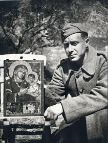 Ioannis Tsarouchis, a famous Greek with one of his creations, a Theotokos icon, on the way for the Battle of Pindus, Greece History, Art Articles, Byzantine Icons, My Prince Charming, Greek Art, Roman Catholic, Military History, Old Photos, Ww2